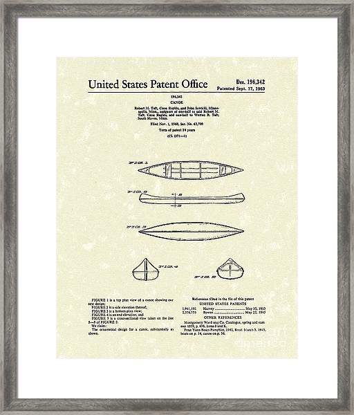 Canoe 1963 Patent Art Framed Print