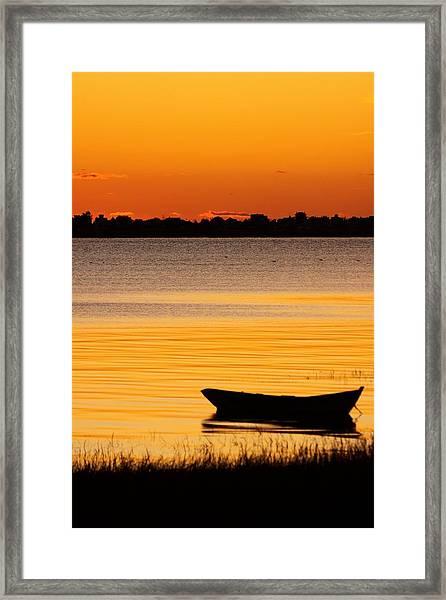 Canoe Sunrise Framed Print by Brian Magnier