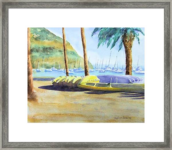 Canoes And Surfboards In The Morning Light - Catalina Framed Print
