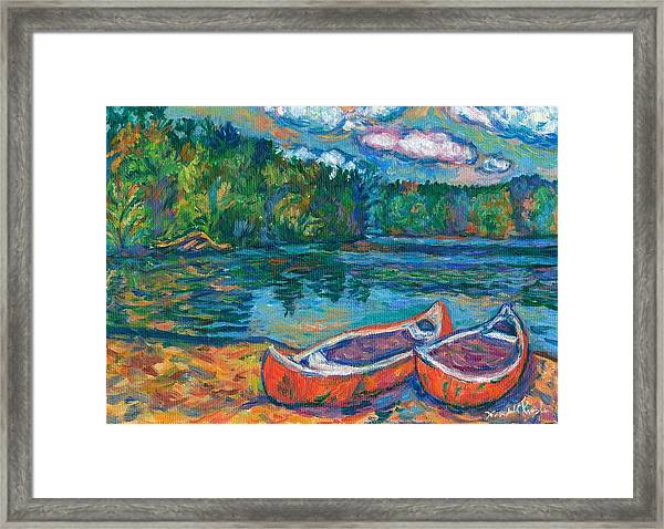 Canoes At Mountain Lake Sketch Framed Print