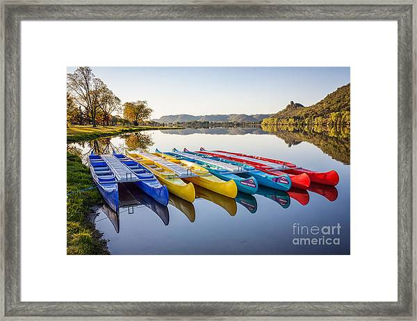 Framed Print featuring the photograph Canoes Color 2x3 by Kari Yearous