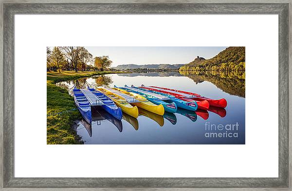 Canoes In The Early Morning II Framed Print