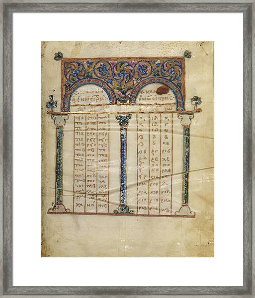 Canon Table Page Unknown Constantinople Framed Print by Litz Collection