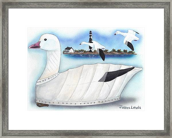 Canvas Snow Goose Decoy by James Lewis
