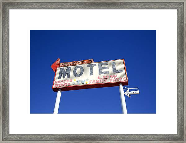 Canyon Motel Sign Framed Print