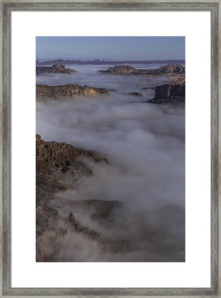 Canyon Rims Float In Fog Framed Print