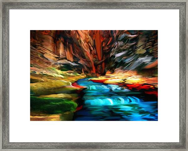 Canyon Waterfall Impressions Framed Print