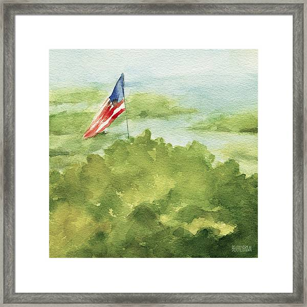 Cape Cod Beach With American Flag Painting Framed Print by Beverly Brown