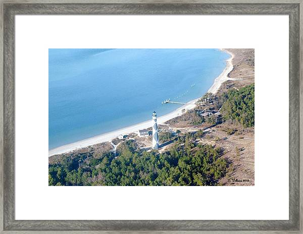 Cape Lookout Lighthouse Aerial View Framed Print