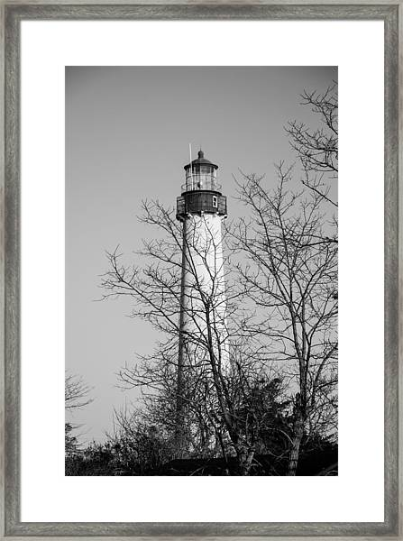 Cape May Light B/w Framed Print