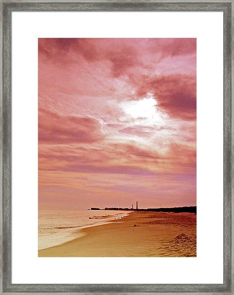 Cape May New Jersey Sunset With Lighthouse In The Distance Framed Print