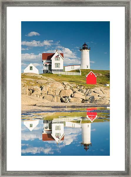 Cape Neddick Light  Reflections Framed Print