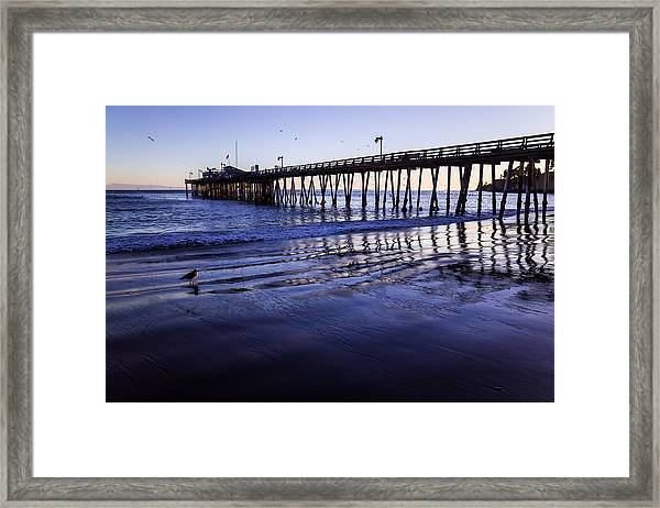 Framed Print featuring the photograph Capitola Wharf Reflections by Priya Ghose