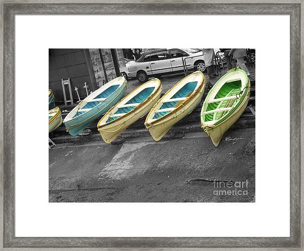 Capri Italy Aqua Green Boats Framed Print