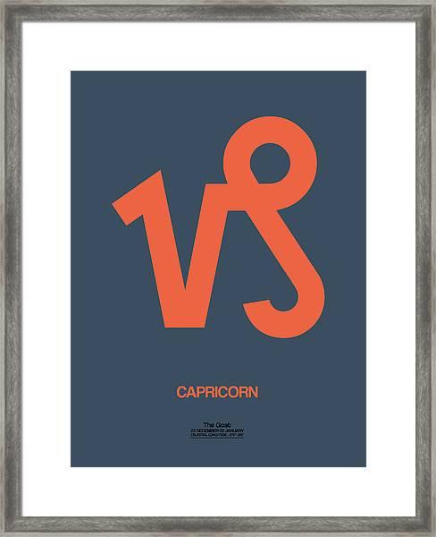 Capricorn Zodiac Sign Orange Framed Print