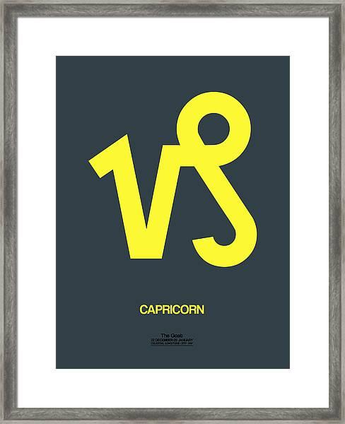 Capricorn Zodiac Sign Yellow Framed Print