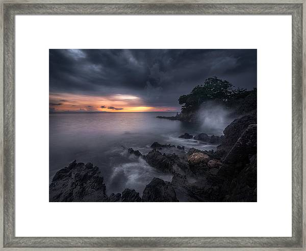Caprusan Temple Sunset Framed Print by Ade Rizal
