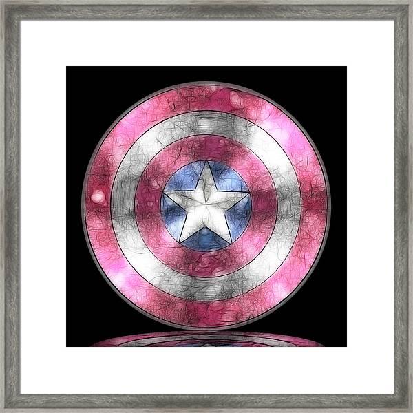 Captain America Shield Digital Painting Framed Print