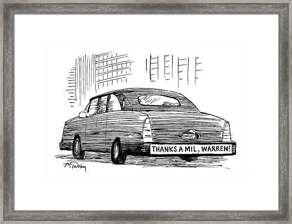 Captionless. Bumper Sticker On Car Reads: Thanks Framed Print