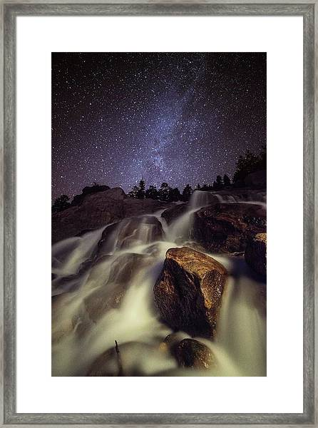 Capturing A Starry Night Waterfall In Framed Print by Mike Berenson / Colorado Captures