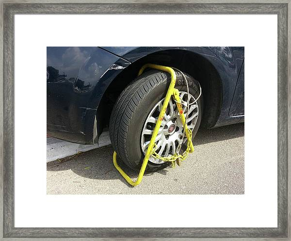 Car Clamped For Illegal Parking Framed Print