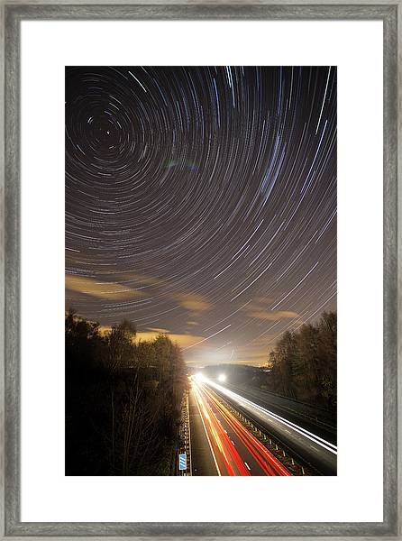Car Trails And Star Trails On The Framed Print