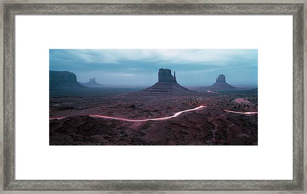 Car Trails By Mittens In Monument Valley Framed Print