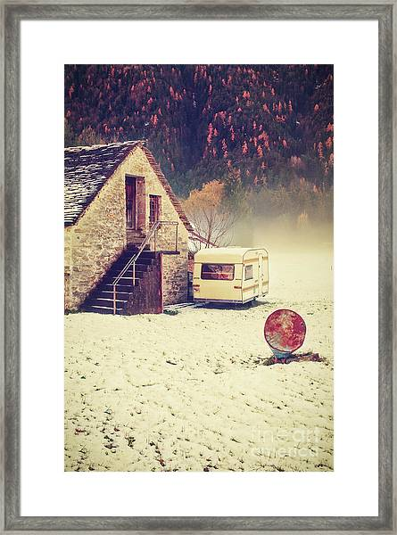 Caravan In The Snow With House And Wood Framed Print