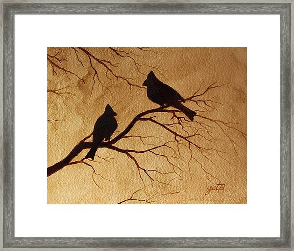 Cardinals Silhouettes Coffee Painting Framed Print