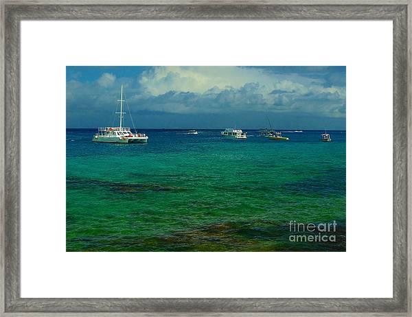 Caribbean Snorkelling Boats Framed Print by Rachel Duchesne