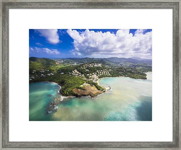 Caribbean, St. Lucia, Choc Bay, Aerial Photo Of Calabash Cove Resort Framed Print by Westend61