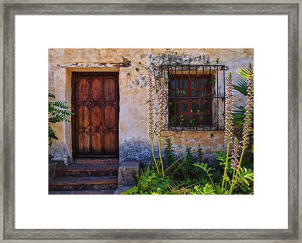 Carmel Mission Living Quarters Framed Print