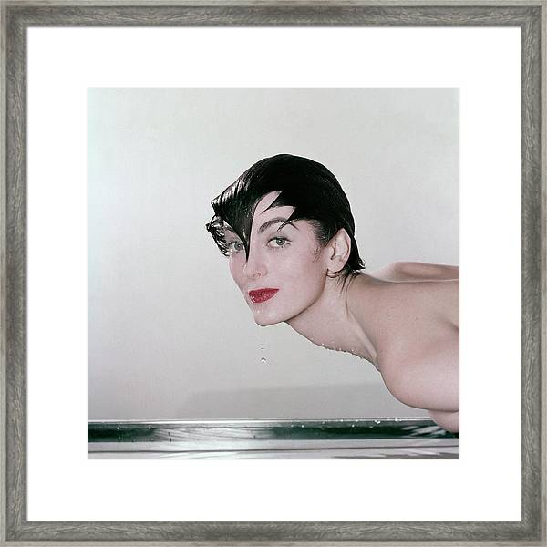 Carmen Dell'orefice Demonstrating Waterproof Framed Print by John Rawlings