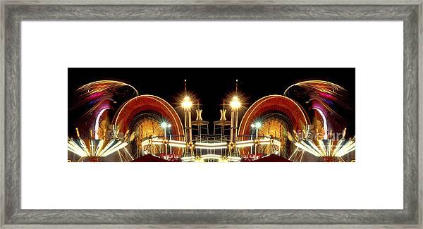 Carnival Light Patterns At Night Framed Print