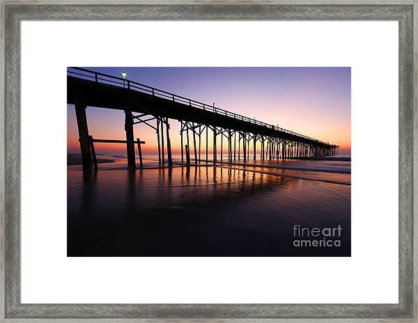 North Carolina Beach Pier - Sunrise Framed Print