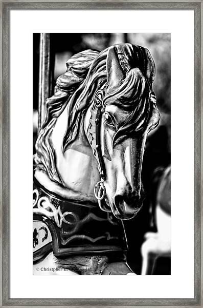 Carousel Horse Two - Bw Framed Print