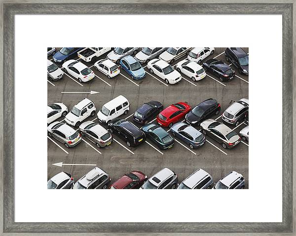 Carpark Viewed From Above With Cars Framed Print
