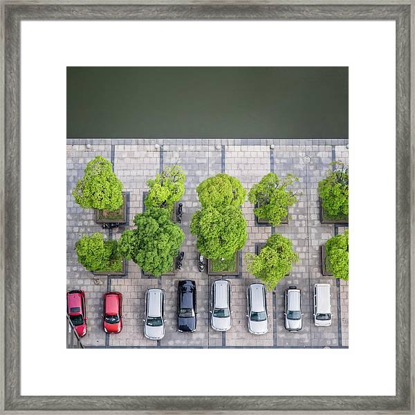 Cars On A Parking Lot Framed Print