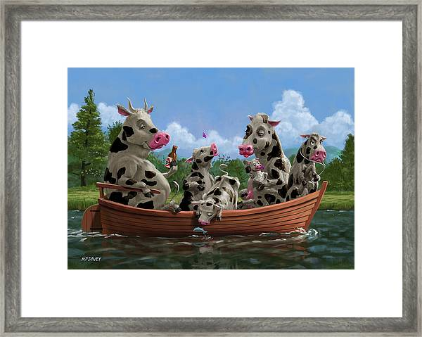 Cartoon Cow Family On Boating Holiday Framed Print