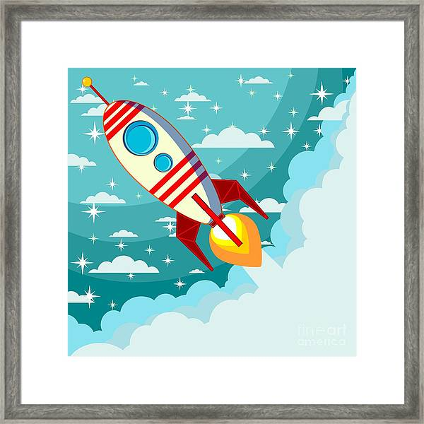 Cartoon Rocket Taking Off Against The Framed Print