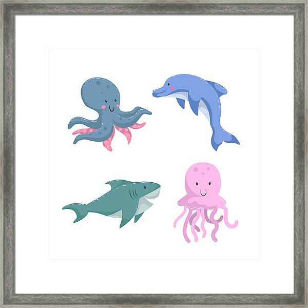 Cartoon Trendy Design Different Sea And Framed Print