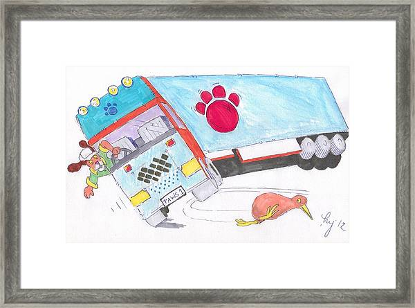 Cartoon Truck Lorry Framed Print