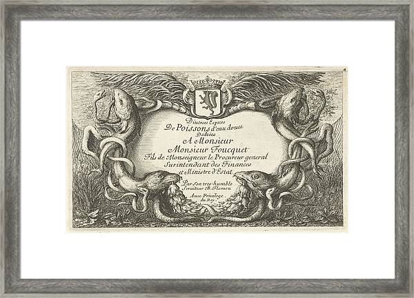 Cartouche With Fish And Water Hoses, Hans Collaert Framed Print