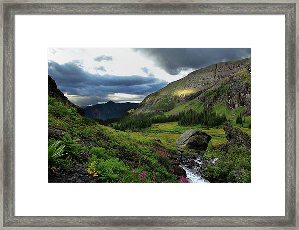 Cascade In Lower Ice Lake Basin Framed Print by A. V. Ley