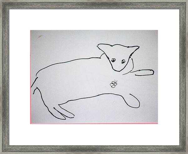 Cat Drawing Framed Print