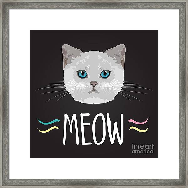 Cat Typography, T-shirt Graphics Framed Print