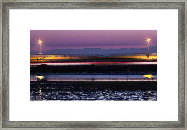 Catalina Bolsa Chica Pch Light Trails And The Wetlands By Denise Dube Framed Print