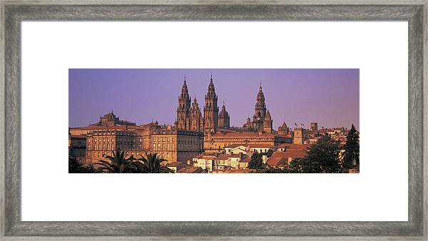 Cathedral In A Cityscape, Santiago De Framed Print