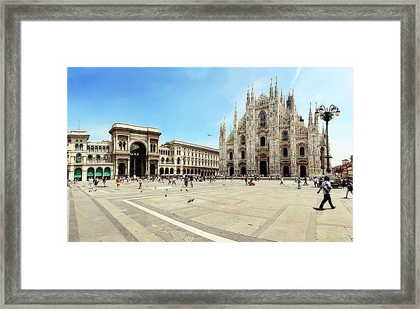 Cathedral Of Milan Galleria Vittorio Framed Print by Paul Biris