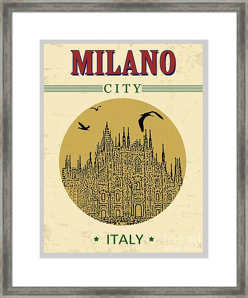Cathedral Of Milano, Italy  In Vintage Framed Print